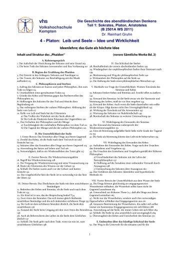 4 - Platon, Ideenlehre und Seele - VHS - Reinhart Gruhn