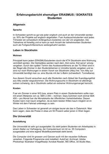 Erfahrungsbericht ehemaliger ERASMUS / SOKRATES Studenten