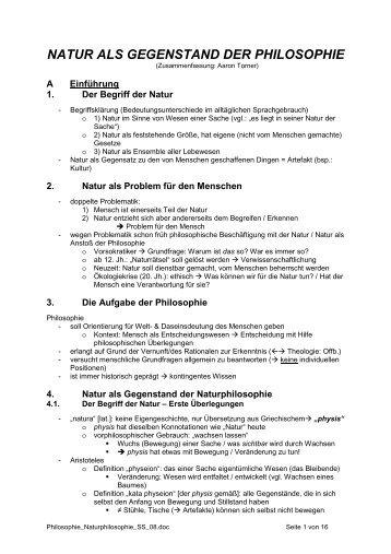 NATUR ALS GEGENSTAND DER PHILOSOPHIE - vaticarsten.de