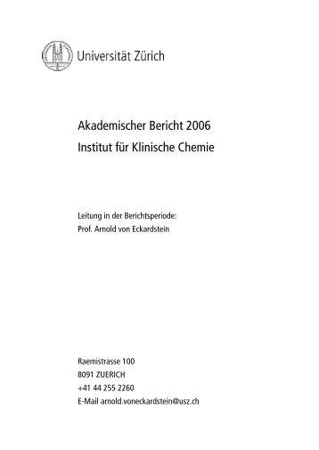 2006 - Institut für Klinische Chemie - UniversitätsSpital Zürich