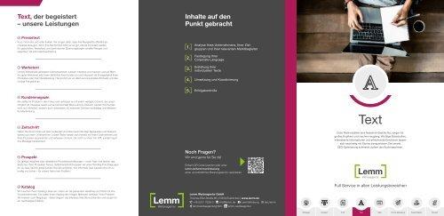 Lemm Text-Leistungsbroschüre