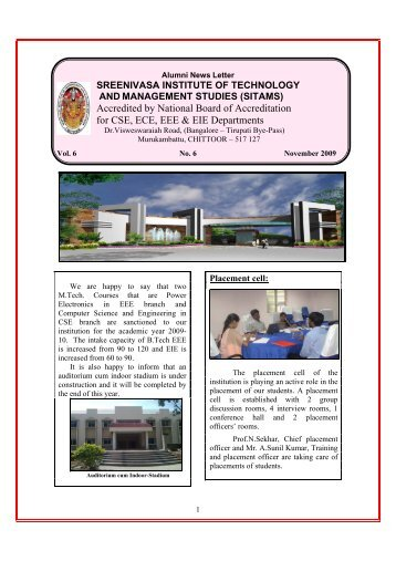 Accredited by National Board of Accreditation for CSE - Sreenivasa ...