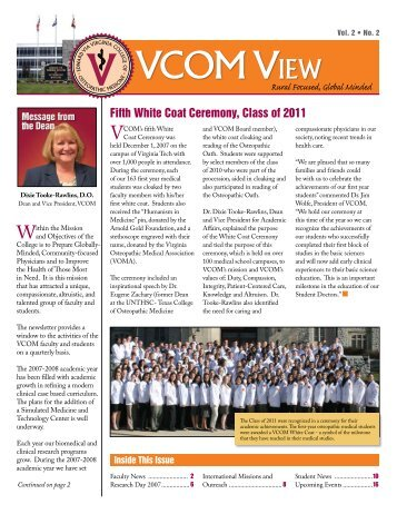 Fifth White Coat Ceremony, Class of 2011 - VCOM - Virginia Tech