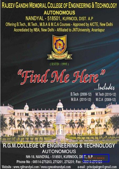 find me here rajeev gandhi memorial college of engineering
