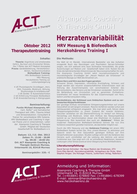 Herzratenvariabilität HRV Messung & Biofeedback Herzkohärenz ...