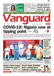 08012021 - COVID-19: Nigeria now at tipping point — FG