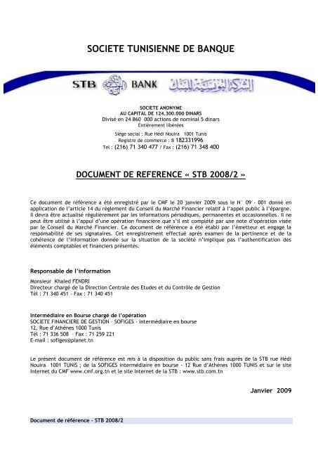 Societe Tunisienne De Banque Cmf