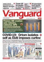 11012021 - COVID-19: Ortom isolates self as Ekiti imposes curfew