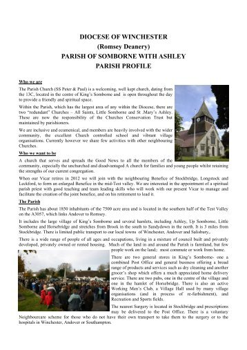 Parish Profile for web site 2 - Kings Somborne - Village Website