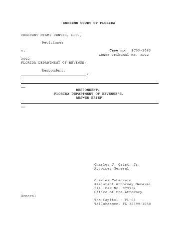 SUPREME COURT OF FLORIDA CRESCENT MIAMI CENTER, LLC ...