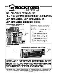 KSL-209   Installation Manual for PSD-400 Control Box and LBP-400 Series, LBP-500 Series, LBP-600 Series, or LBP-800 Series Light Bar Pairs