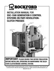 KSL-276 | Installation Manual for SSC-1500 Generation II Control Systems on Part-Revolution-Clutch Presses