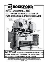 KSL-277 | Installation Manual for SSC-1500 Gen II Control Systems on Part-Revolution-Clutch Press Breaks