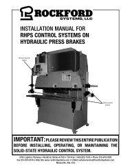 KSL-278 | Installation Manual for RHPS Control Systems on Hydraulic Press Breaks