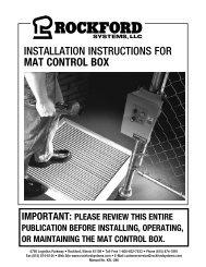 KSL-286   Installation Instructions for Mat Control Box