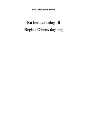 En bemærkning til Regine Olsens dagbog