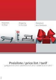Preisliste / price list / tarif