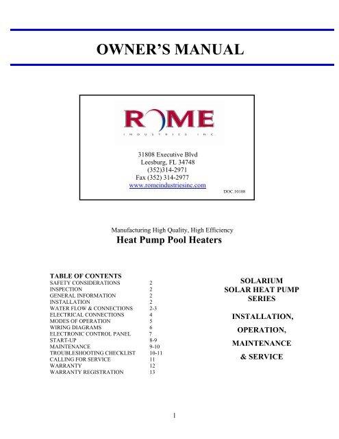 pool wiring code diagrams owner s manual pool heat pumps  owner s manual pool heat pumps