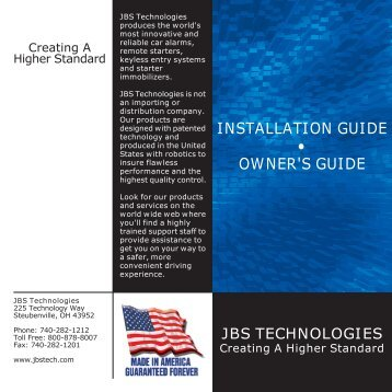 INSTALLATION GUIDE • OWNER'S GUIDE - Bulldog Security