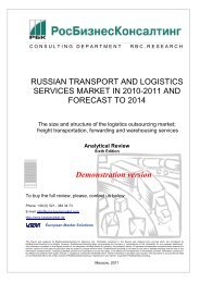 RUSSIAN TRANSPORT AND LOGISTICS SERVICES MARKET IN ...
