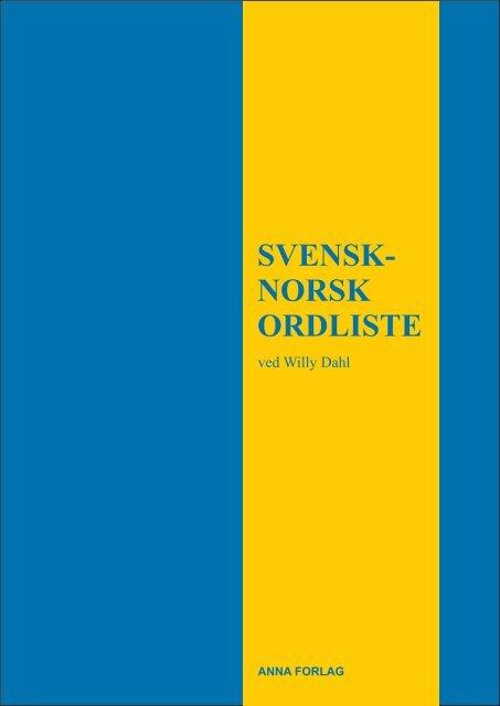 SVENSK- NORSK ORDLISTE - Anna Forlag & Antikvariat