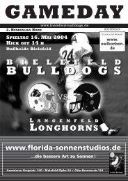 2004 - Ein Jahr der Umstellungen - 1. AFC Bielefeld Bulldogs eV