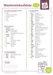 Einkaufsliste für den Alnatura Wochenplan Nr. 2