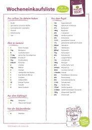 Einkaufsliste für den Alnatura Wochenplan Nr. 3