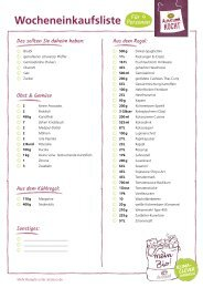 Einkaufsliste für den Alnatura Wochenplan Nr. 4
