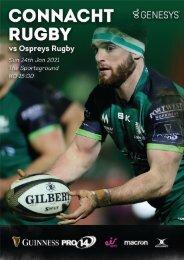 Connacht V Ospreys 24-01-2021 Match Programme