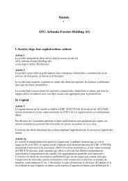 Statuts AFG Arbonia-Forster-Holding AG