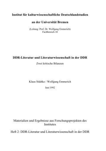 DDR-Literatur und Literaturwissenschaft in der DDR - Universität ...