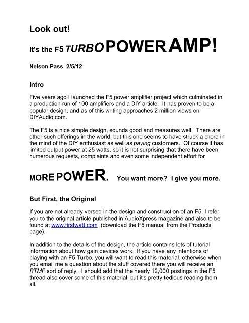 F5 Turbo - First Watt
