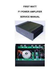 FIRST WATT F1 POWER AMPLIFIER SERVICE MANUAL