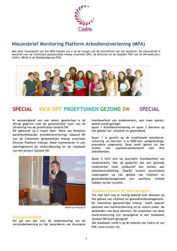 Nieuwsbrief Monitoring Platform Arbodienstverlening (MPA) - Cedris