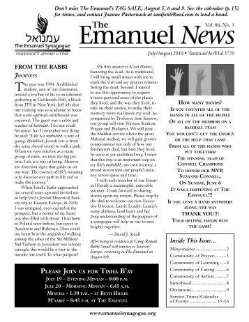 Emanuel News July 10.indd - The Emanuel Synagogue