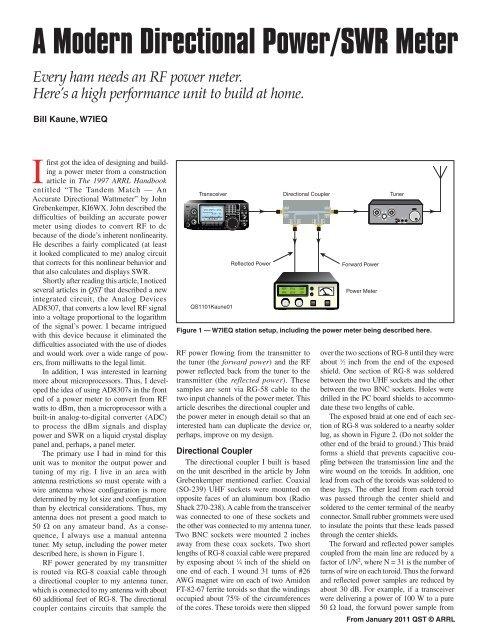A Modern Directional Power/SWR Meter Every ham needs     - ARRL