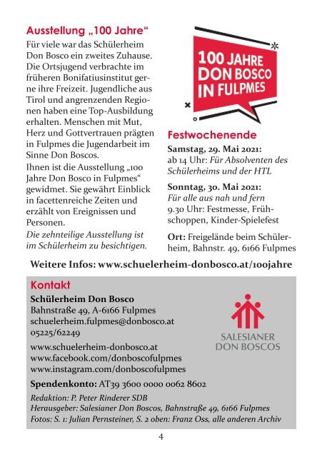 Don Bosco aktuell - Fulpmes, Jänner 2021