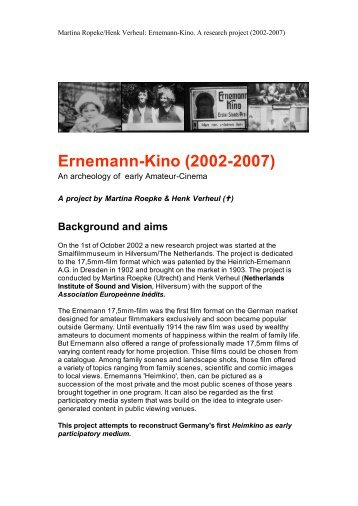 Ernemann-Kino - Amateur Cinema Studies Network
