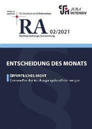 RA 02/2021 - Entscheidung des Monats