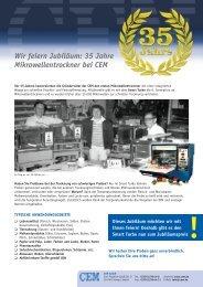 35 Jahre Mikrowellentrockner bei CEM - LABO.de