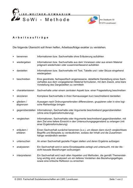 SoWi-Methode: Arbeitsaufträge - Lise-Meitner-Gymnasium