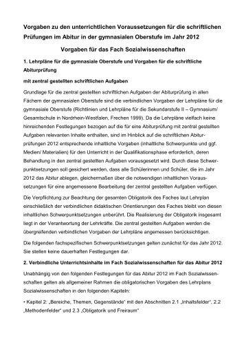 Vorgaben Zentralabitur Sowi 2012 - Gymnasium Nepomucenum ...
