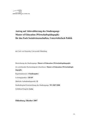 Antrag auf Akkreditierung des Studiengangs Master of Education ...