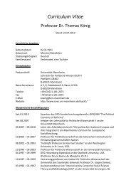 Curriculum Vitae - Fakultät für Sozialwissenschaften - Universität ...