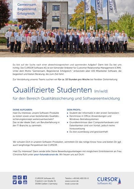 Qualifizierte Studenten (m/w/d) für den Bereich Qualitätssicherung und Softwareentwicklung Stellenanzeige