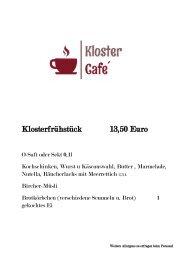 Speisekarte Kloster Cafe Biburg