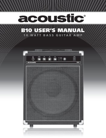 B10 USER'S MANUAL - Acoustic