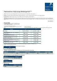 Rates 2013 - Falkensteiner Hotel & Spa Bleibergerhof