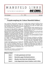 MANSFELD LINKS - DIE LINKE. Kreisverband Mansfeld-Südharz